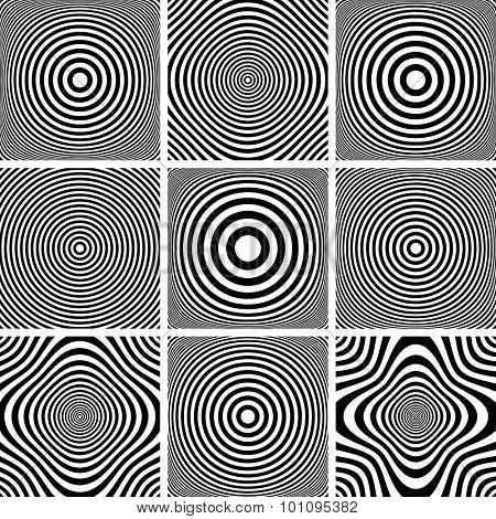 Abstract illustrations set. Circles and rings patterns. Vector art.