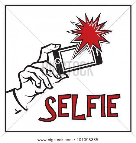 illustration of selfie on smartphone