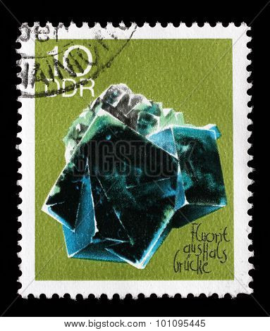 GDR-CIRCA 1969: A stamp printed in GDR shows Fluorite from the series Minerals, circa 1969.