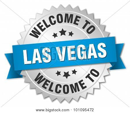 Las Vegas 3D Silver Badge With Blue Ribbon