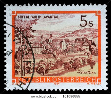 AUSTRIA - CIRCA 1984 A stamp printed in Austria shows St. Pauls Abbey in the Lavanttal, Karintien, from the series Monasteries and Abbeys in Austria, circa 1984