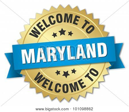 Maryland 3D Gold Badge With Blue Ribbon