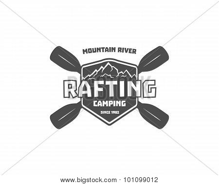 Vintage rafting, kayaking, canoeing camp logo, labels and badges. Stylish Monochrome outdoor design.