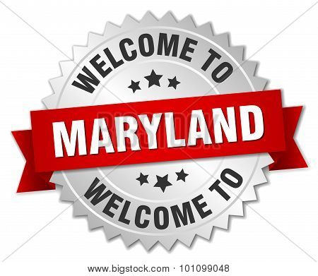 Maryland 3D Silver Badge With Red Ribbon