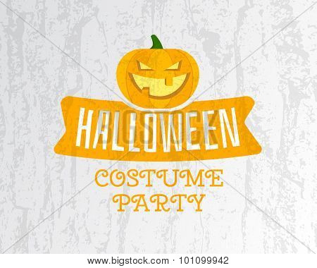 Happy Halloween costume party flyer template - orange and white colors with pumpkin, ribbon and text
