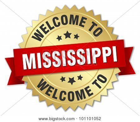 Mississippi 3D Gold Badge With Red Ribbon