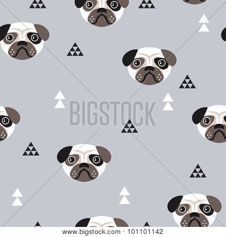 Seamless kids pug dogs illustration fun geometric scandinavian style gender neutral blue background pattern in vector