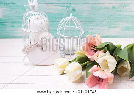 White And Pink Tulips Flowers,  Decorative Heart And Candles