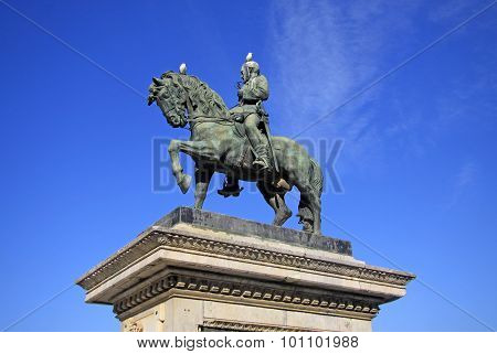 A Equestrian Statue Representing The General Joan Prim In Barcelona, Spain