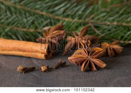 Star Anise And Fir Background