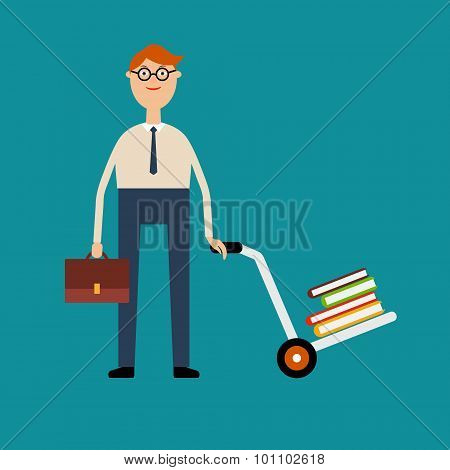 Student with glasses holding a briefcase and pushing a cart with