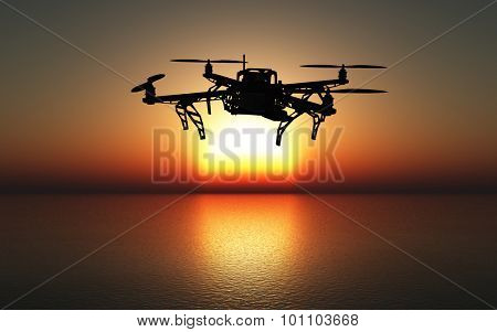 3D render of a drone flying above the sea against a sunset sky