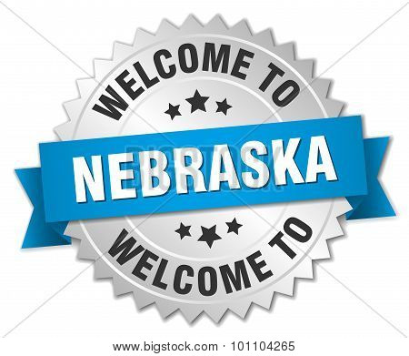 Nebraska 3D Silver Badge With Blue Ribbon