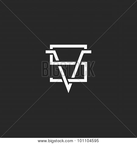 Versus Logo Vs Letters Together, Hipster Crossing Line Monogram Black And White Sign