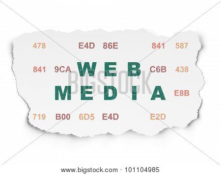 Web development concept: Web Media on Torn Paper background