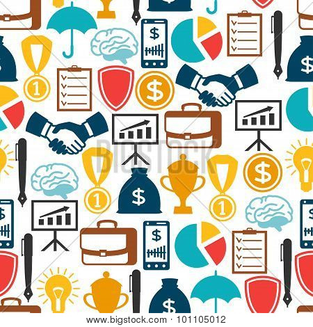 Business and finance seamless pattern from flat icons