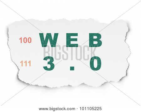 Web design concept: Web 3.0 on Torn Paper background