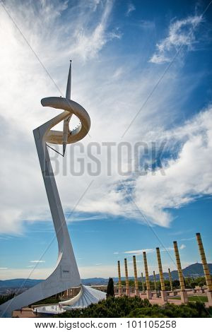 BARCELONA, SPAIN - MAY 02: The contemporary abstract design of the Calatrava Telecommunications Tower, Barcelona, Spain, on Montjuic, designed and erected for the Olympics. May 02, 2015.