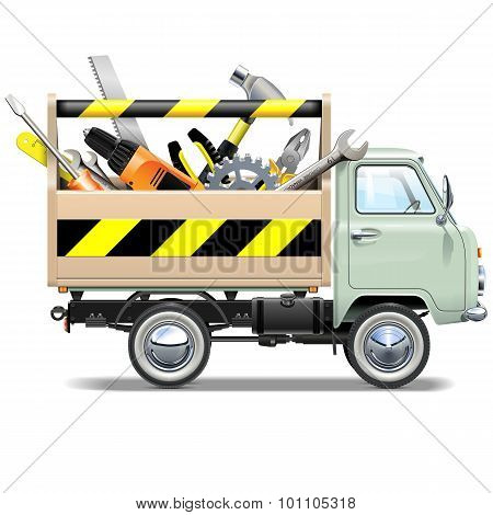 Vector Retro Truck With Toolbox