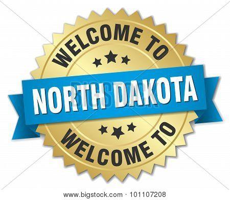 North Dakota 3D Gold Badge With Blue Ribbon