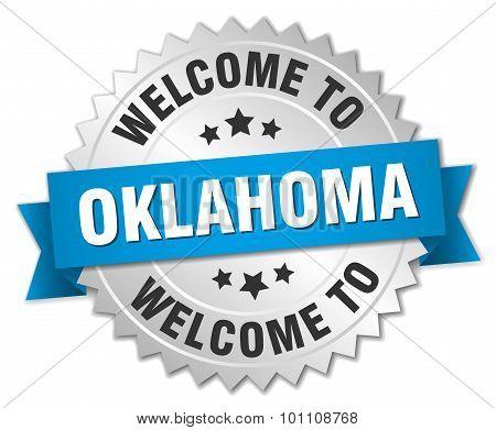 Oklahoma 3D Silver Badge With Blue Ribbon