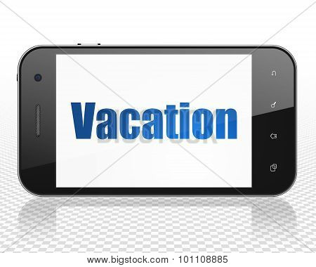 Tourism concept: Smartphone with Vacation on display