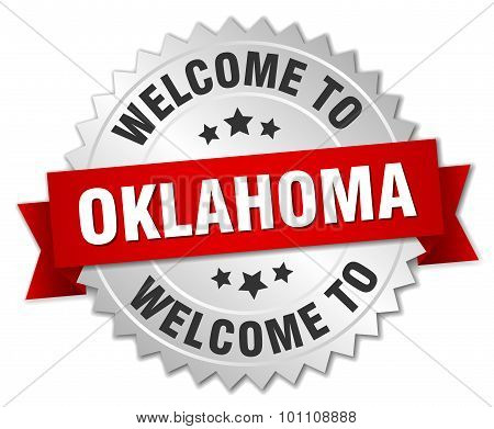 Oklahoma 3D Silver Badge With Red Ribbon