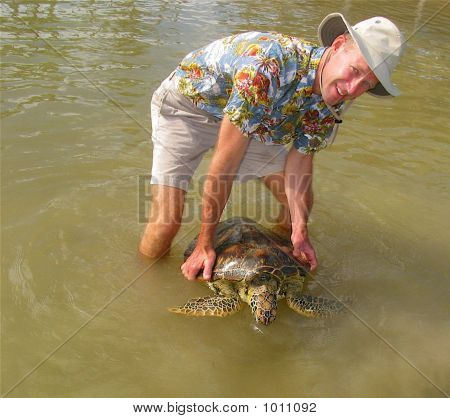 Biologist Holding Turtle