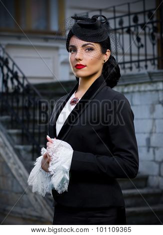 Young woman in retro styled costume (normal version)