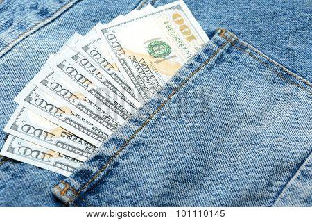 Dollar Banknotes In Jeans Back Pocket