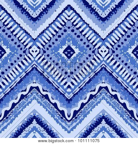 Hand drawn painted seamless blue pattern. Vector illustration