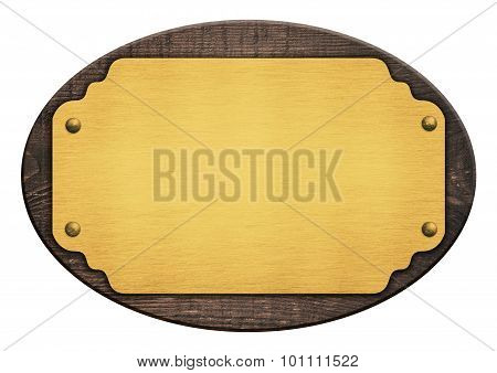 Composition of golden plaque, name plate, wooden board isolated on white