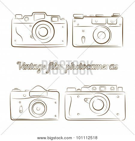Vector set of vintage film photocameras