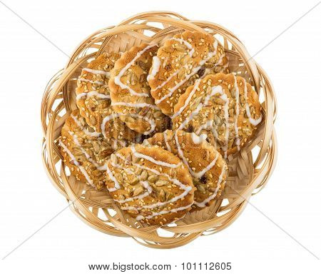 Biscuits With Sesame Seeds And Sunflower Seeds In Wicker Basket