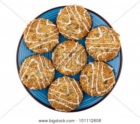 Biscuits With Sesame Seeds And Sunflower Seeds In Blue Plate