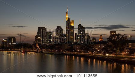 Skyline Of Frankfurt City In Twilight