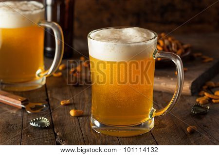 Golden Beer In A Glass Stein