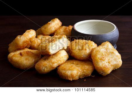 Golden fried chicken nuggets.