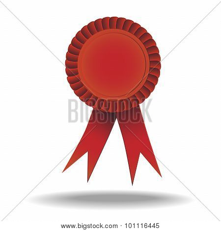 Red badge with ribbon