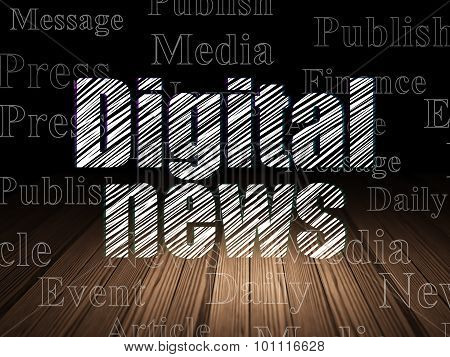 News concept: Digital News in grunge dark room