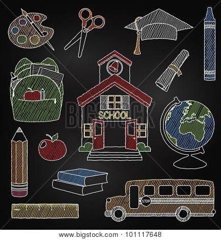 Vector Set of Hand Drawn Chalkboard Doodle School Vectors