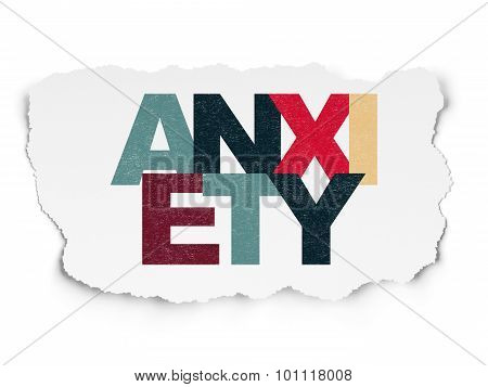 Medicine concept: Anxiety on Torn Paper background