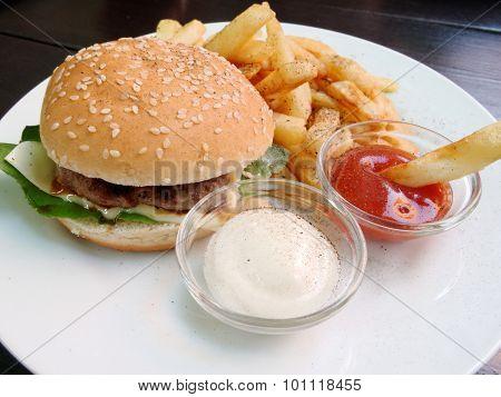 burger fries and sauces