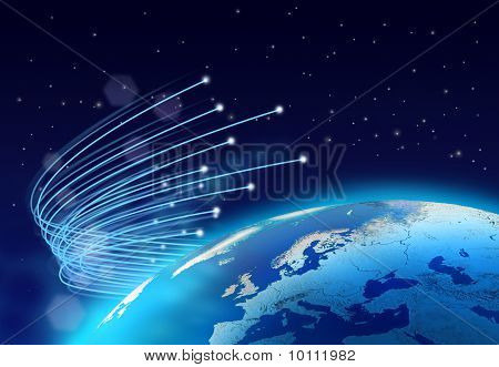 Optical fibres internet speed