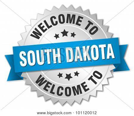 South Dakota 3D Silver Badge With Blue Ribbon