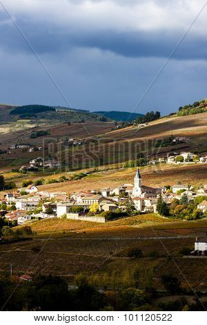 village Julienas with vineyards in Beaujolais, Rhone-Alpes, France