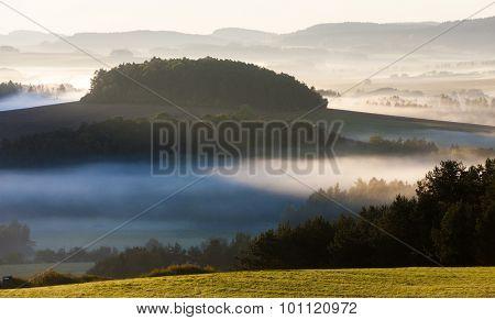 autumnal landscape in fog, Sumava, Czech Republic