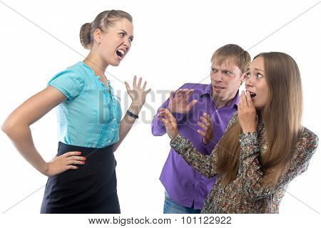 Angry businesswoman and employees