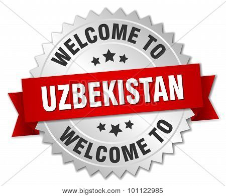 Uzbekistan 3D Silver Badge With Red Ribbon