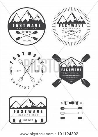 Set If Vintage Rafting Logo, Labels And Badges